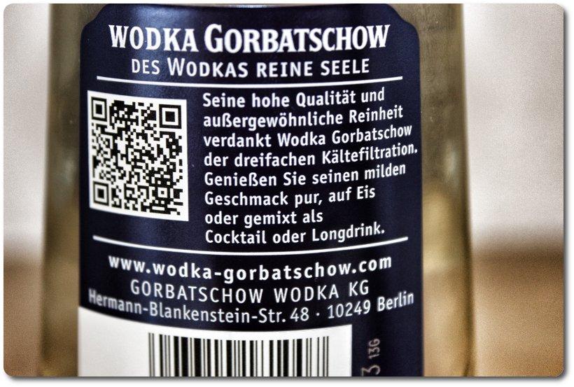 Wodka Gorbatschow Rückseitenetikett