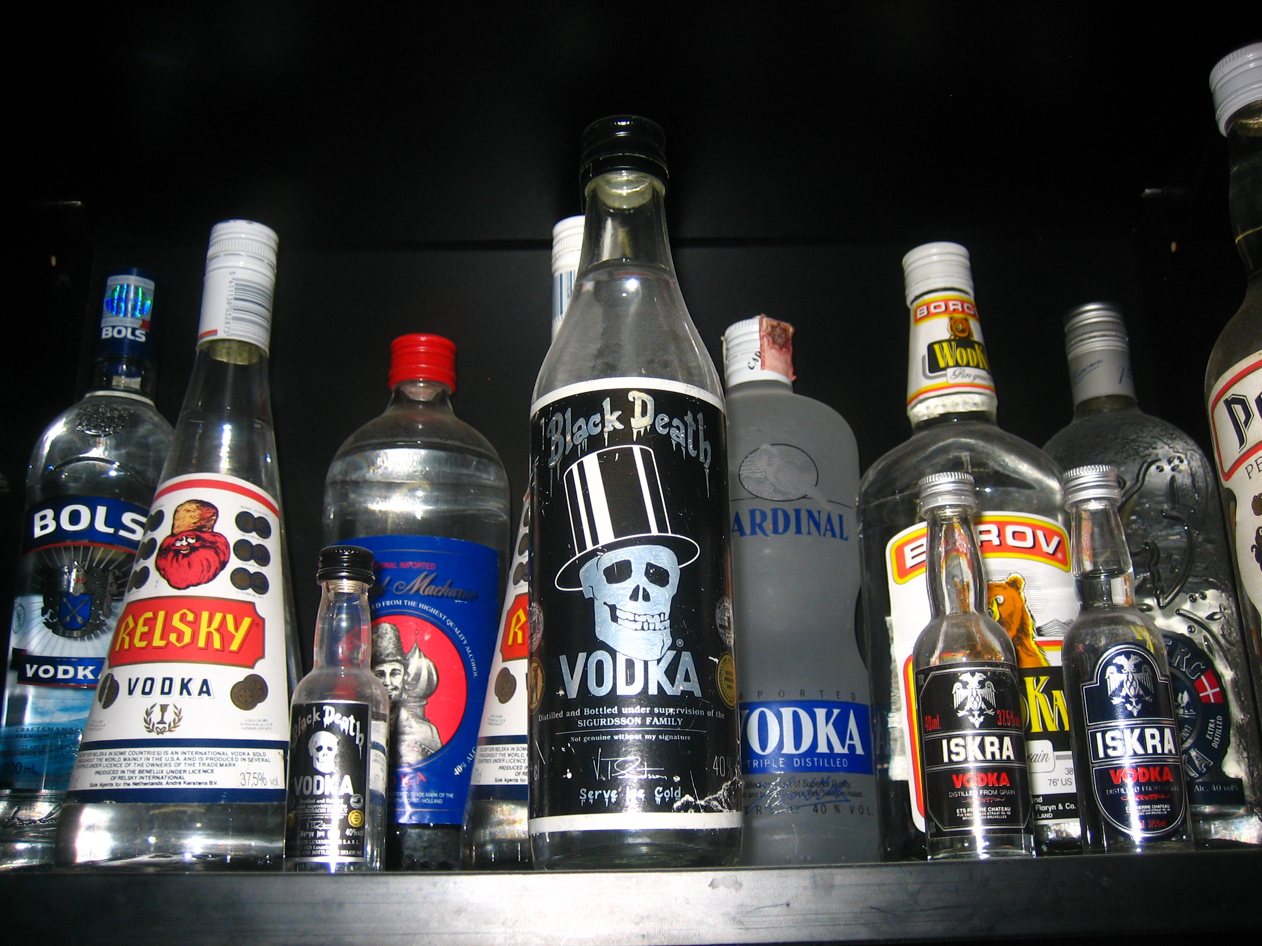 Bols, Relsky, Black Death, Iskra, Cardinal Vodka